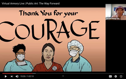screenshot of a slide show with a billboard design featuring 3 medical workers