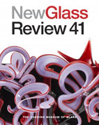 cover of new glass review 41, with a swirling glass sculpture im purple and red, from the corning museum of glass