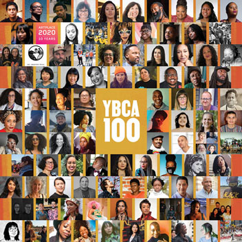 YBCA 100 graphic with many many portrait photos of people