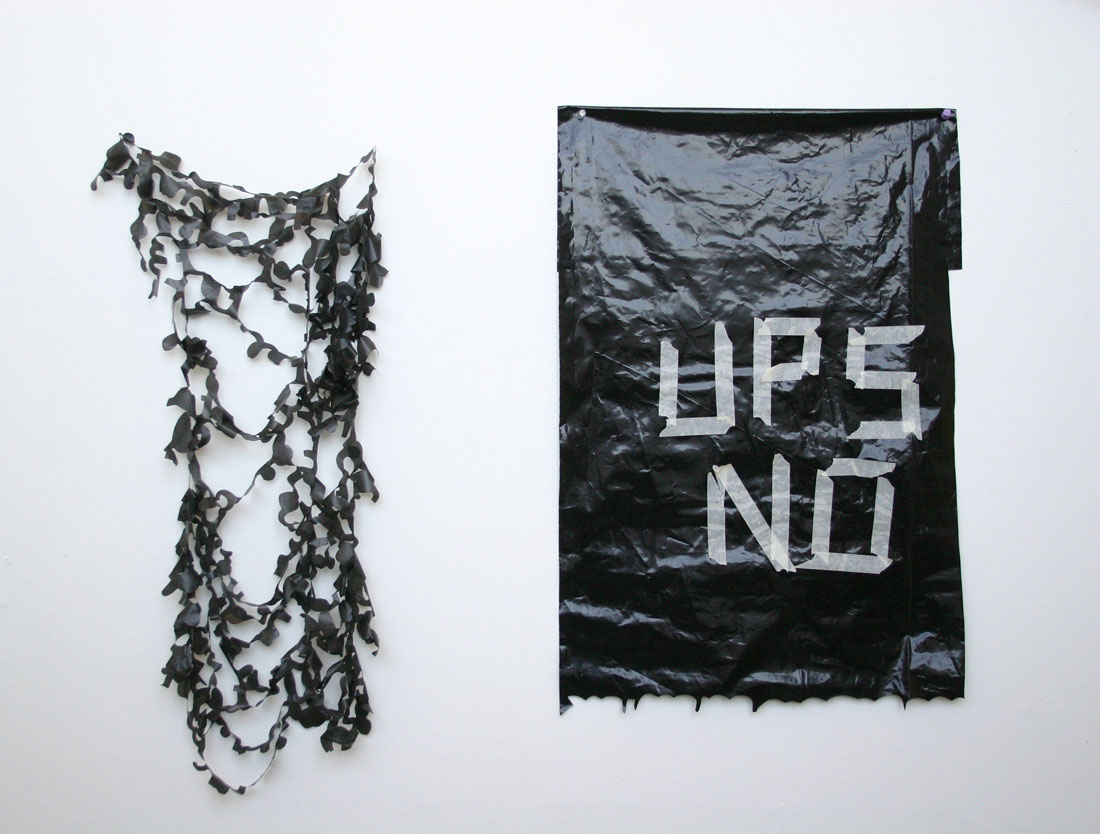 Plastic Cut #1 (hypocritical) and UPS NO, 2006, plastic, 	    pins, masking tape, 40 x 30 x 1 inches / 1 m x 76 cm x 2.5 cm