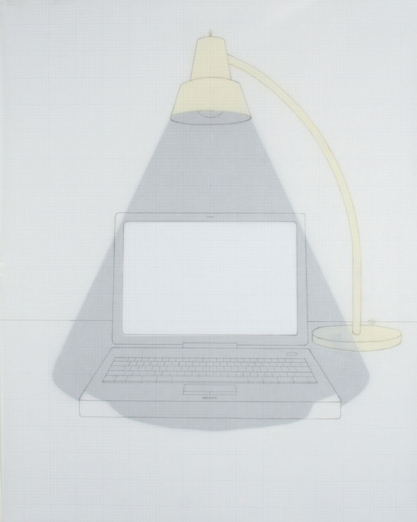 Dark Light (Desk Model), 2007, graphite, vellum, paper, acetate, 16 x 20 inches / 41 x 51 cm<