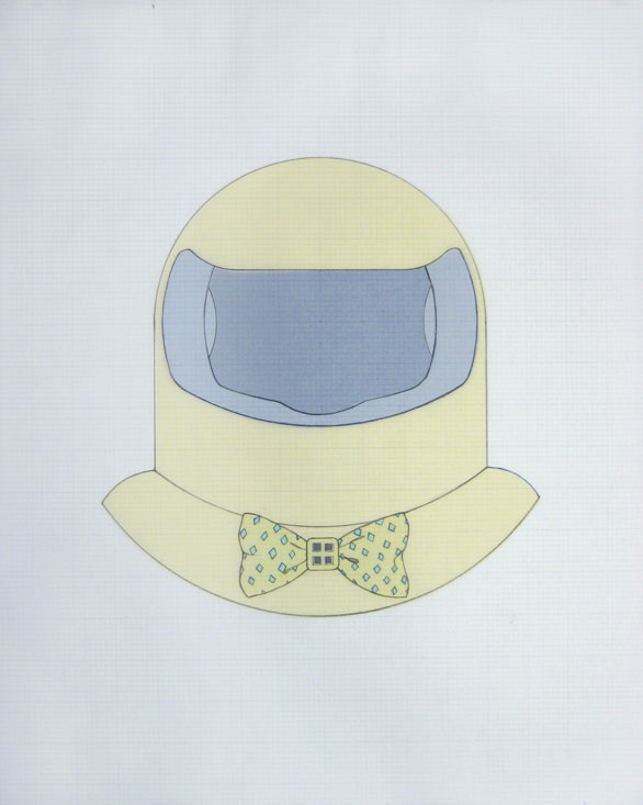 Quiet Time Helmet, 2007, graphite, vellum, paper, acetate, 16 x 20 inches / 41 x 51 cm
