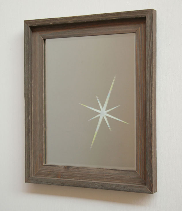 Untitled (Lens Flare, Small Mirror), 2007, etched mirror,         colored pencil, frame, 13 x 16 x 2 inches / 33 x 41 x 5 cm