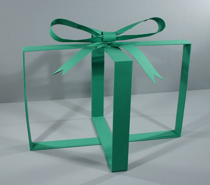 Green Present, 2007, balsa wood and paper, 18 x 22 x 		  16 inches / 56 x 56 x 41 cm