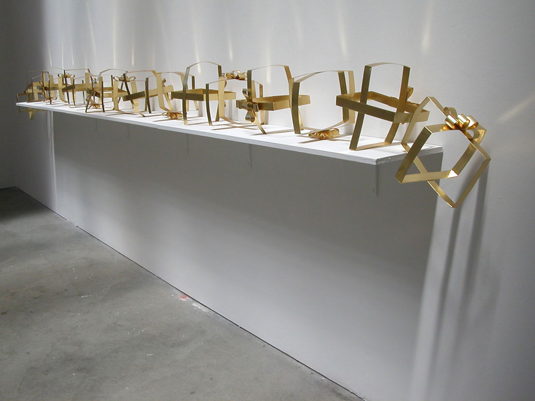 Linked Gold Present, 2007, paper, 153 x 9 x 9 inches / 3.8 m x 		  23 cm x 23 cm