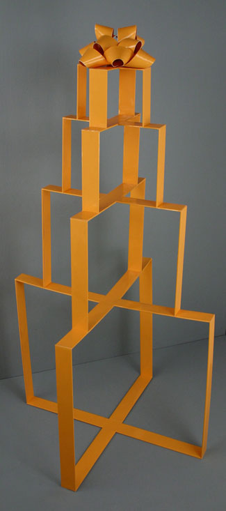 Stacked Orange Present, 2007, balsa wood and paper, 53 x 27 x 		  27 inches / 134 x 69 x 69 cm