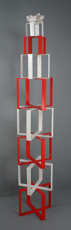 Stacked Red and White  Present, 2007, balsa wood and paper, 78 		  x 14 x 14 balsa / 198 x 35 x 35 cm