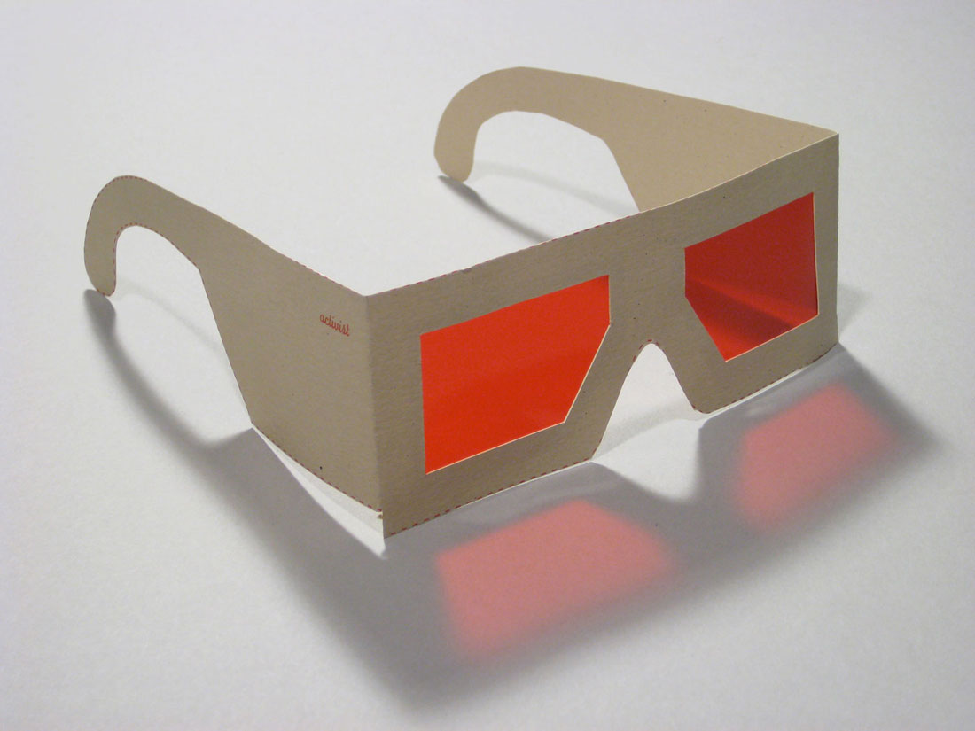 SeeingRed (glasses cut out by viewers), 2008, screenprint,           rubylith, 6 x 3 x 6 inches / 152 x 76 x 156 mm
