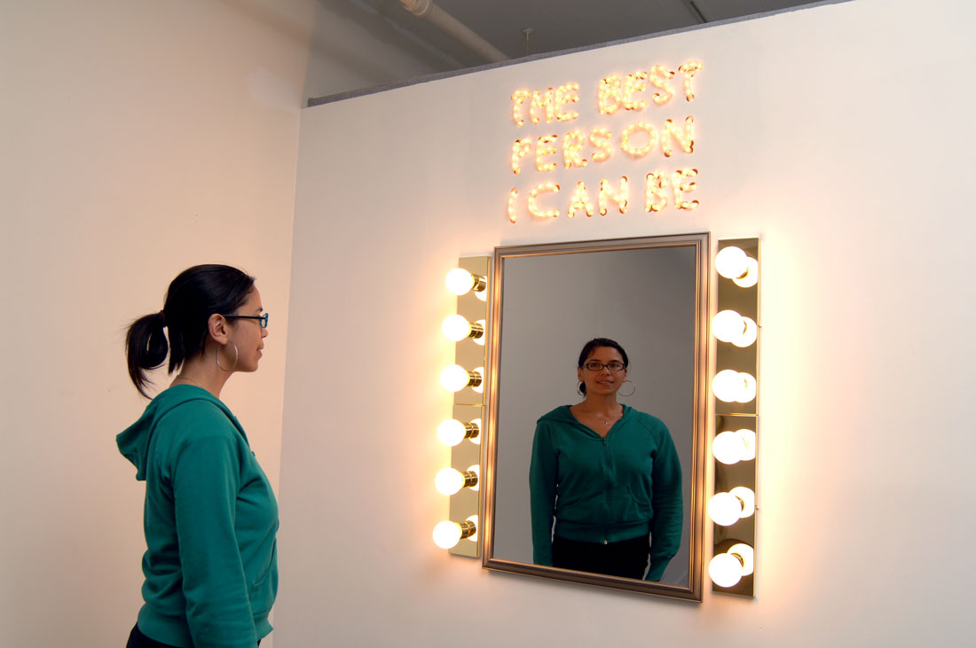 The Best Person I Can Be (exterior view), 2008,  	    installation: security mirrors, frame, lights, fixtures, wall, 8 x 8 		  x 8 feet / 2.4 x 2.4 x 2.4 m. photo: Bob Hsiang
