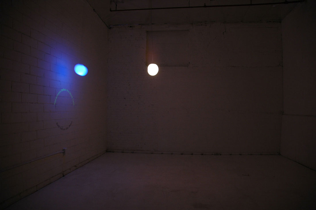 Binary Pair, 2008, installation (motors, lights, paint, ink), 6 x 14 x 6 feet / 1.8 x 4.2 x 1.8 m. Installation view at Tarryn Teresa 		  Gallery, Los Angeles.
