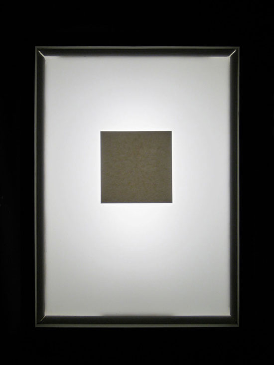 Dark into Light</em> (lightbox; documentation of on phase),           2008, light box with phosphorescent screen print, 12.5 x 16.5 x 6 inches           / 32 x 42 x 15 cm