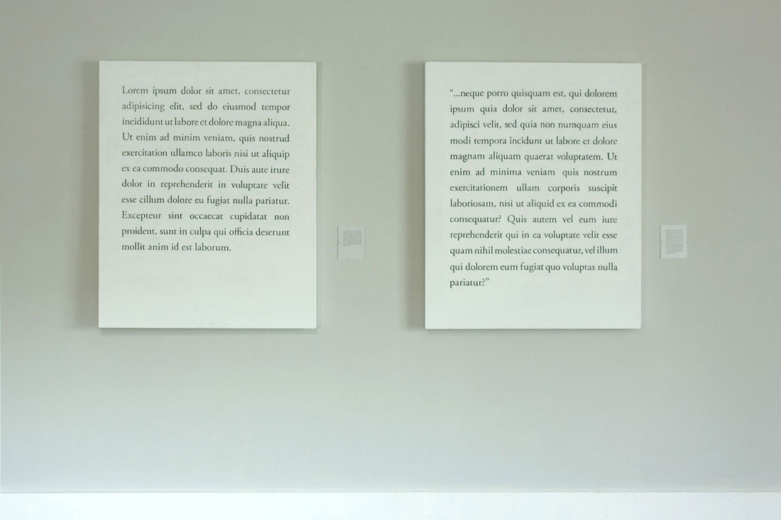Lorem ipsum (set of 4), 2008, graphite and 		  latex on wood panel, graphite on vellum with acrylic sheets, panels: 		  36 x 44 inches / 91 x 112 cm each; paper: 4.5 x 5.5 inches / 114 x 		  140 mm.