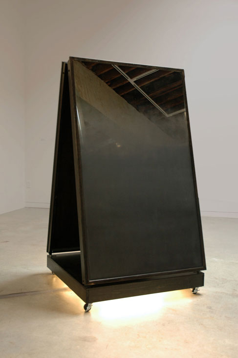 mirrorsblack, 2009, wood, mirrors, spraypaint, lights, casters, 		  36  × 66 x 36 inches / 1 × 1.6 × 1 m