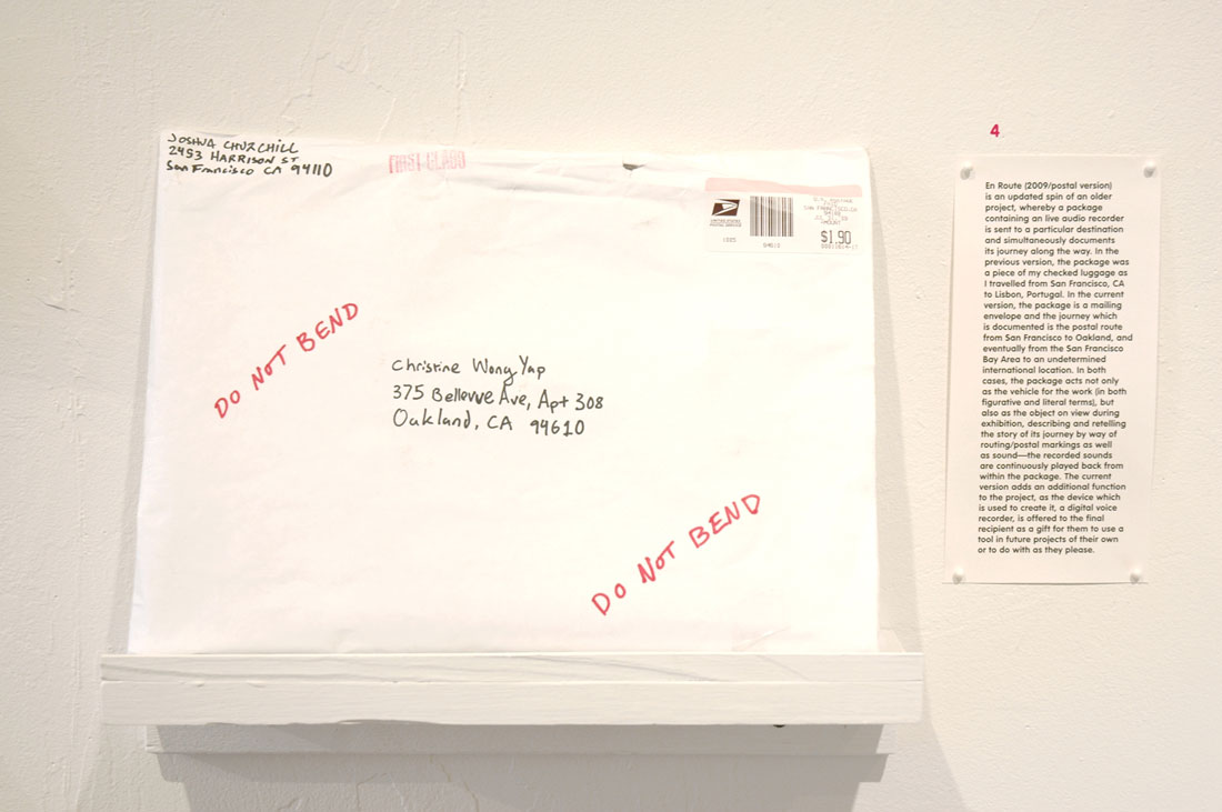 Joshua Churchill, En Route (2009/postal version), 2009, digital voice recorder, mailing envelope, sound, approximately 1×9×12 inches / 2.5×29×30 cm