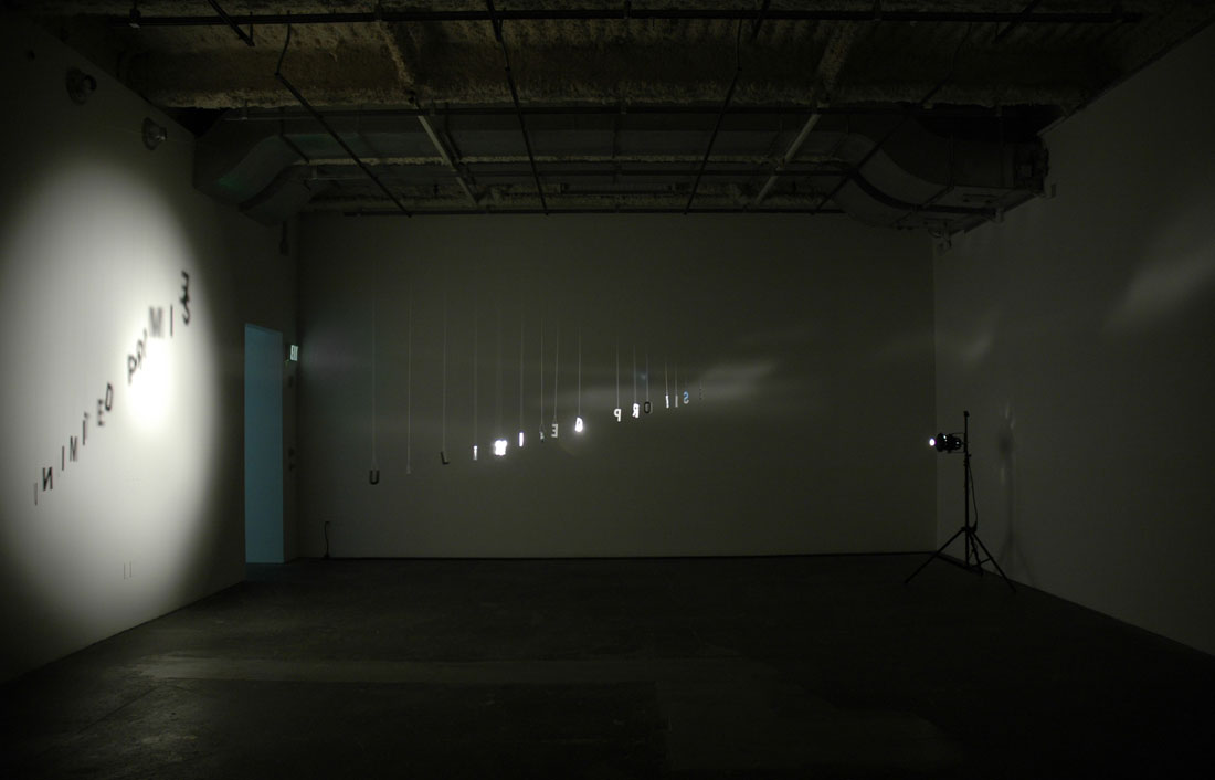 Unlimited Promise, 2009-2010, installation: foil paper, thread, light, shadow, dim. var.