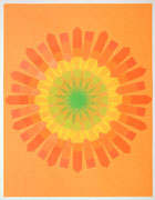 a collage made with multi-colored fluorescent arrow-shaped flag stickers. it's on orange paper with stickers making a circular mandala pattern of that transitions from green in the center to yellow, then orange at the edges.