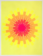 a collage made with multi-colored fluorescent arrow-shaped flag stickers. it's on yellow paper with stickers making a circular mandala pattern of that transitions from red in the center to orange, then yellow at the edges.
