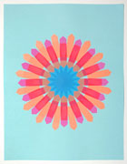 a collage made with multi-colored fluorescent arrow-shaped flag stickers. it's on blue paper with blue stickers in the middle of a sunburst pattern. the rays of the sunburst are made with pink and orange stickers; where the stickers overlap it creates red rectangles