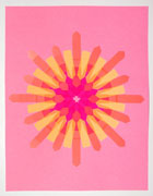 a collage made with multi-colored fluorescent arrow-shaped flag stickers. it's on pink paper with pink stickers forming the center of a starburst pattern. the rays of the starburst made of orange and yellow stickers