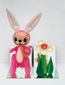 jeff koons, Inflatable Flower and Bunny, Tall White, Pink Bunny, vinyl, mirrors 32 x 25 x 18 inches 81.3 x 63.5 x 45.7 cm 1979