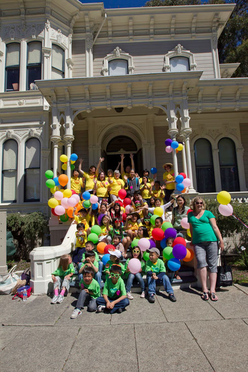 The Great Balloon Giveaway team included children from the City of Oakland's   Lincoln Square Recreation Center, Christian L. Frock, and volunteers from Mills College and the Camron-Stanford House.