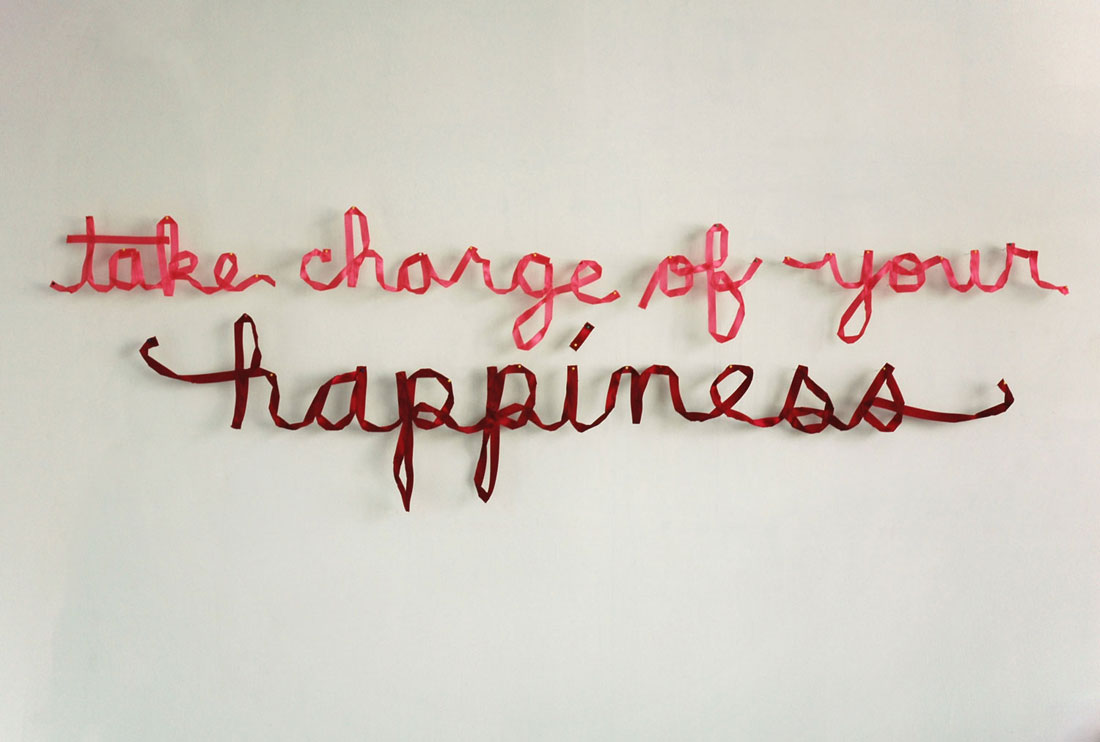 take charge of your happiness, 2011, ~83 × 24 × 1 in / 211 × 61 × 2.5 cm