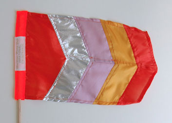 Irrational Exuberance (Asst. Colors) Mini Flags, 2012, fabric, thread, wood, woven labels, ~15 x 18 inches / 38 x 45 cm each