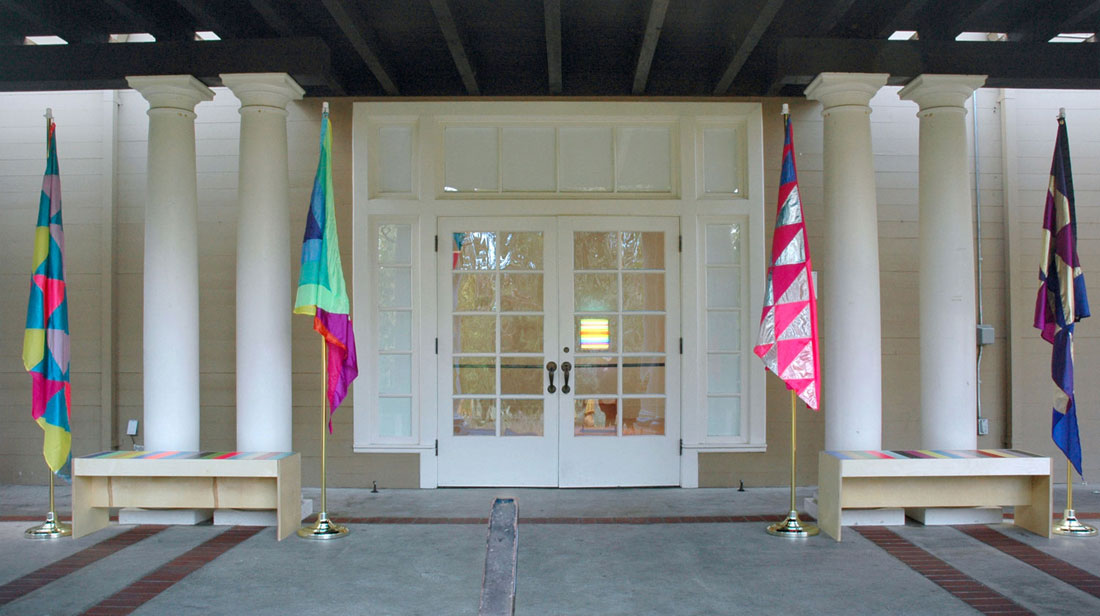 Christine Wong Yap, Irrational Exuberance Flags; Leah Rosenberg, Striped Benches and Illuminated Stripes I.
