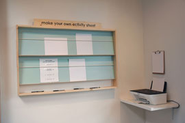 Make Your Own Activity Sheet station with copier/printer and display area for leaving copies of new sheets for others to take and use.