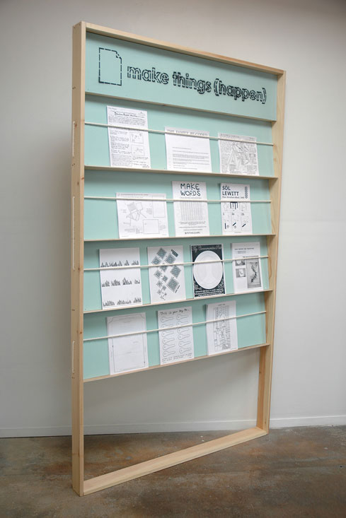 "Display unit, wood, paint, cotton rope, 84"" x 49.5"" x 3.5"""