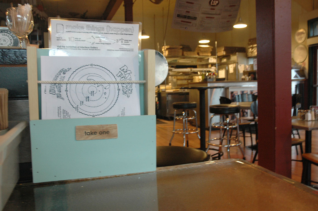 Mystic Pizza crust divination activity sheet by Hannah Jickling and Helen Reed at Lanesplitter Pizza, Telegraph and 48th Street. Look for it at the end of the bar.