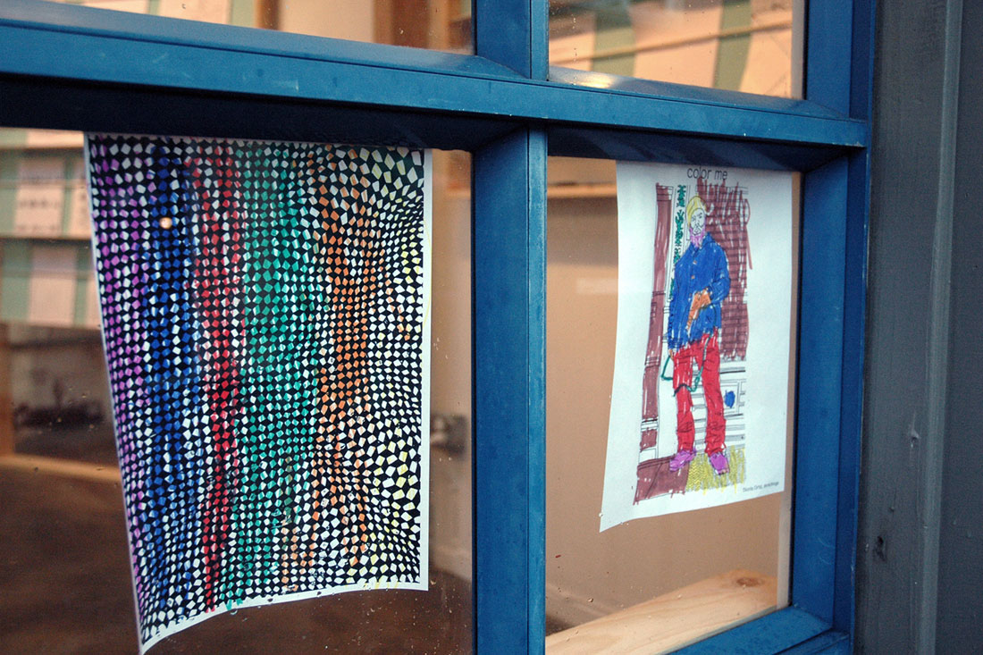 Interface's windows are a display area for completed activity sheets, such as these sheets by Nick Lally and Dionis Ortiz, by Lila, age 6.