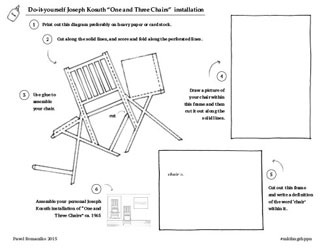 "Do-it yourself Joseph Kosuth ""One and Three Chairs"" installation. 1 Print out this diagram preferably on heavy paper or card stock. 2 Cut along the solid lines, and score and fold along the perforated lines. 3 Use glue to assemble your chair. 4 Draw a picture of your chair within this frame and then cut it out along the solid lines. 5 Cut out this frame and write a definition of the word 'chair' within it. 5 Assemble your personal Joseph Kosuth installation of ""One and Three Chairs"" ca. 1965  Pavel Romaniko 2014 #mkthngshppn"