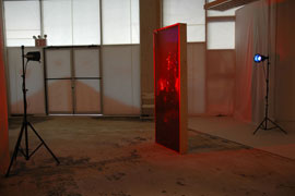 Doorway (installation view), 2014, wood, vinyl, asphalt-based coating, lights, stands, gels, door: 82.5 x 33.5 x 5.5 inches / 210 x 85 x 14 cm