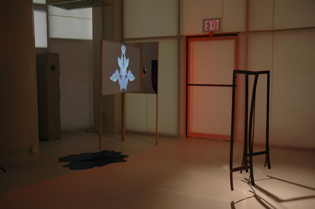 Installation view of Hide, Projection, and Folding Screen