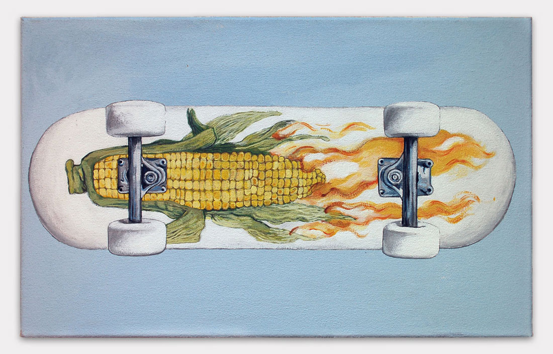 Lauren Frances Adams, 2015, Corn on Fire Skateboard, acrylic on canvas, 12 x 18 inches.