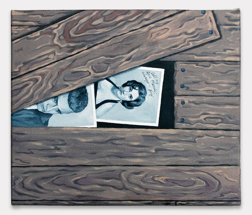 Lauren Frances Adams, 2015, Hollywood in the Attic, acrylic on canvas, 12 x 14 inches.