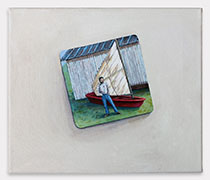 "Lauren Frances Adams, Dad with His Boat, 2015, acrylic on canvas, 12"" x 12"""
