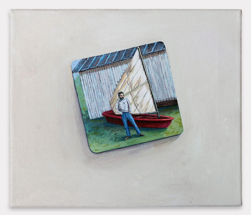 "Dad with His Boat, 2015, acrylic on canvas, 12"" x 12"""