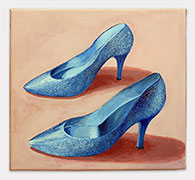 "Lauren Frances Adams, Grandma Glitter Shoes, 2015, acrylic on canvas, 14"" x 16"""