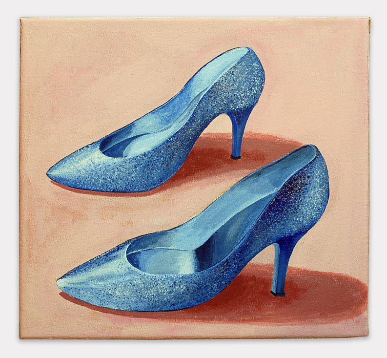 Lauren Frances Adams, 2015, Grandma Glitter Shoes, acrylic on canvas, 14 x 16 inches.