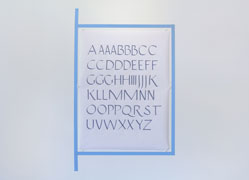 all the steps in the process, drawings, hand-lettered specimen sheet in roman capitals
