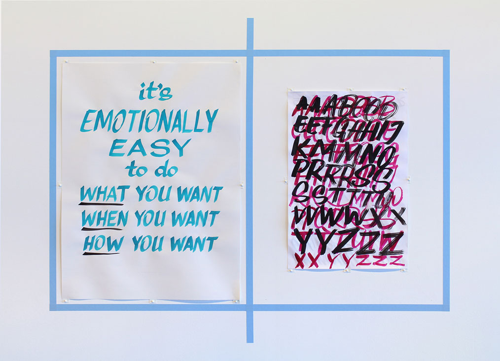 it's emotionally easy to do what you want, when you want, how you want. —elizabeth travelslight. brush-stroke specimen sheet