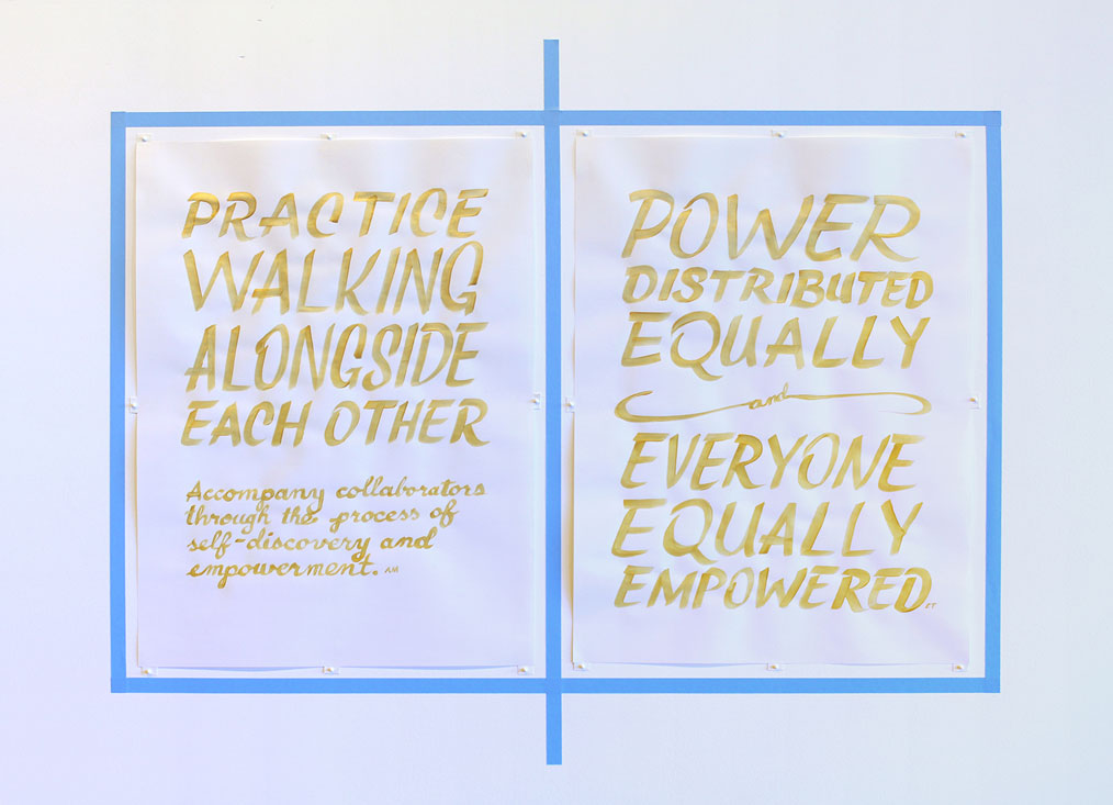 all the steps in the process, drawings: practice walking alongside each other. accompany collaborators through the process of self-discovery and empowerment. —armando minjarez. power distributed equally, and everyone equally empowered. —elizabeth travelslight