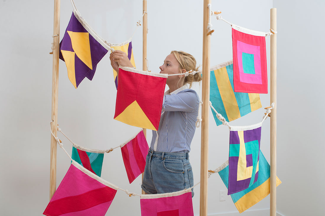 Character Strengths Signal Flags, 2015, installation view, Bronx Museum of the Arts