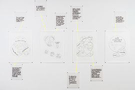 A series of drawings: 4 large drawings with venn diagrams drawn in pencil, and 8 smaller drawings with quotes in calligraphy in black ink. Parts of the various drawings are connected with thin yellow tape behind the slightly transparent vellum.