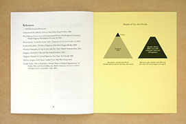 interdependence zine, showing inside back cover with two pyramid models.