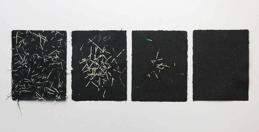 Miniature Windows #1–4 2015, handmade paper: cotton rag, silver Mylar, iridescent and clear cellophane 8.5 x 11 inches each, edition varie of 8 Christine Wong Yap c3:studio residency, c3:initiative, Portland, OR, May–June, 2015. Artwork © Christine Wong Yap. All rights reserved. Photo by Christine Wong Yap.