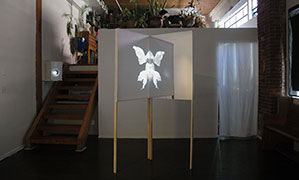 Projection, 2014, video installation: video, wood, fabric, acrylic, TRT 7:14; 80 x 32 x 32.125 inches / 203 x 81 x 82 cm