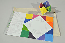 Visitors are invited to take and fold one print to play this game of self-reflection and exchange by way of choosing color.